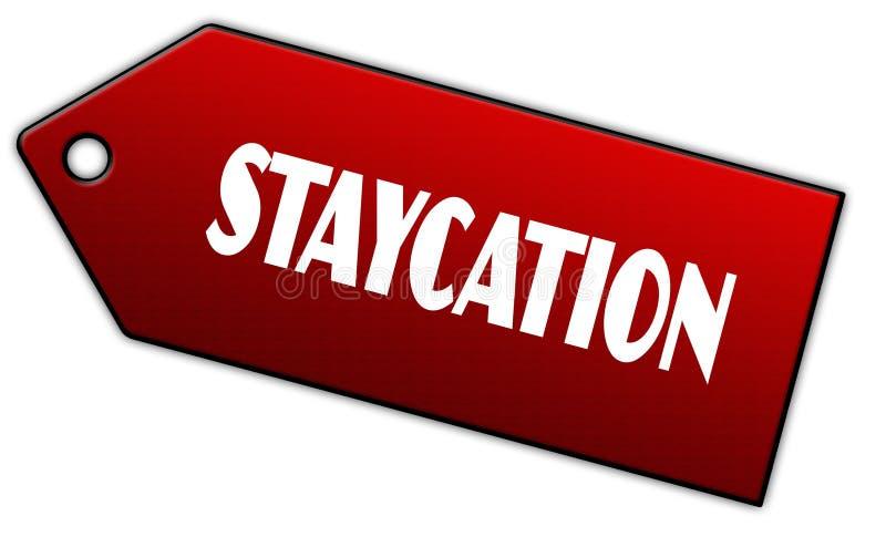 红色STAYCATION标签 免版税库存图片