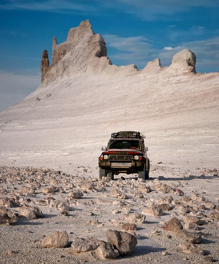 红色SUV在反对峡谷的背景的沙漠 库存照片