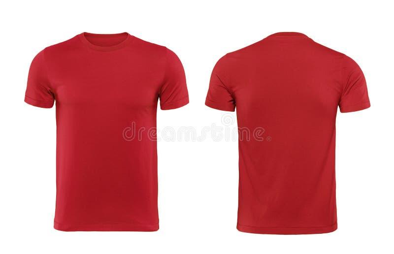 红色t恤杉当设计模板和后面使用的前面.