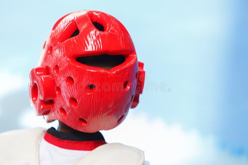 红色Teakwondo盔甲 免版税库存照片