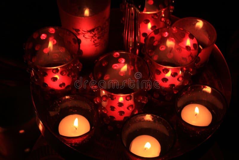 红色votives和蜡烛 图库摄影