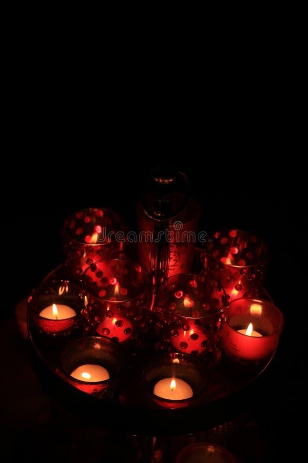 红色votives和蜡烛 免版税库存图片