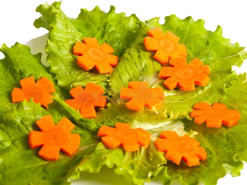 红萝卜剪切莴苣 库存照片
