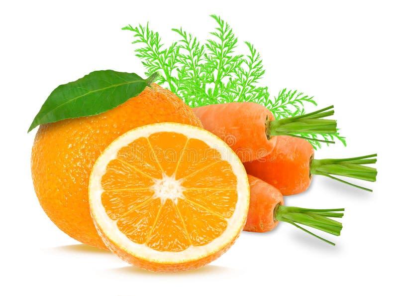 红萝卜和桔子 库存照片
