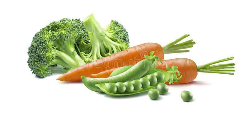 红萝卜在白色背景隔绝的硬花甘蓝豌豆 免版税库存照片