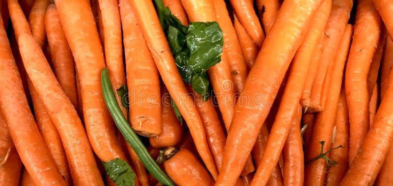 红萝卜,长期桔子,有机,农夫市场 免版税库存照片