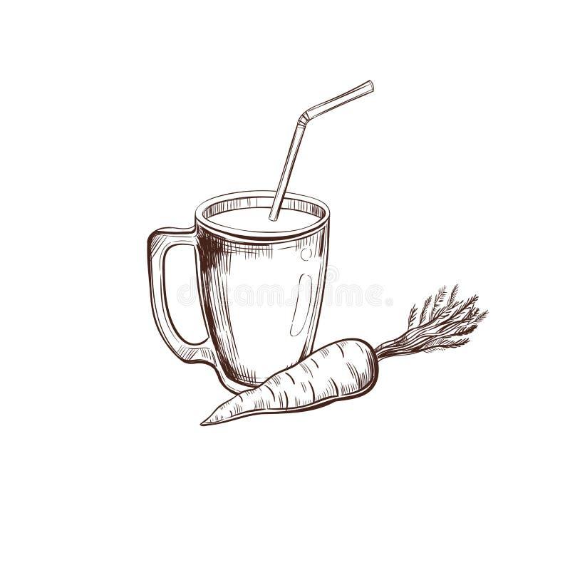 红萝卜 汁液汇集 向量手拉的例证 在白色的被隔绝的对象 向量例证