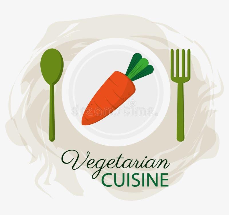 红萝卜素食烹调有机食品板材和匙子分叉 库存例证