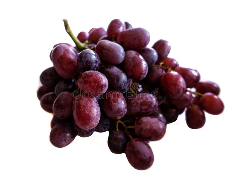 红葡萄被隔绝在白色背景 库存照片