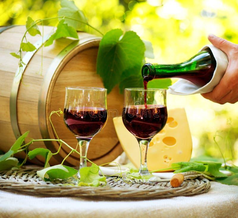 红葡萄酒和干酪 库存照片