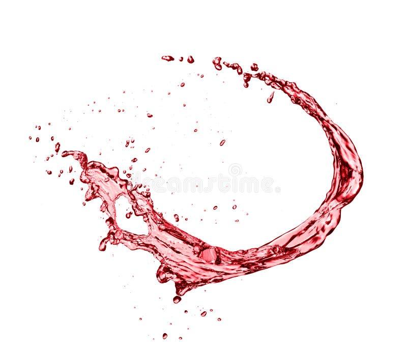 红葡萄酒摘要在白色背景的飞溅形状 免版税库存照片