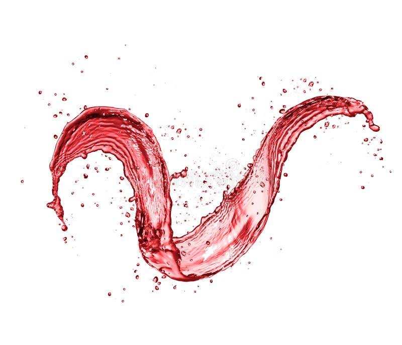 红葡萄酒摘要在白色背景的飞溅形状 免版税库存图片