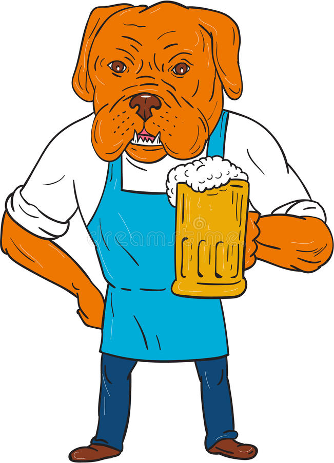红葡萄酒狗酿酒者杯子吉祥人动画片 向量例证