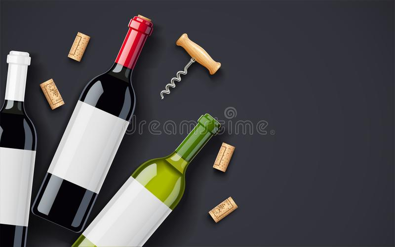 红葡萄酒瓶、黄柏和拔塞螺旋构思设计酒卡片的 库存例证