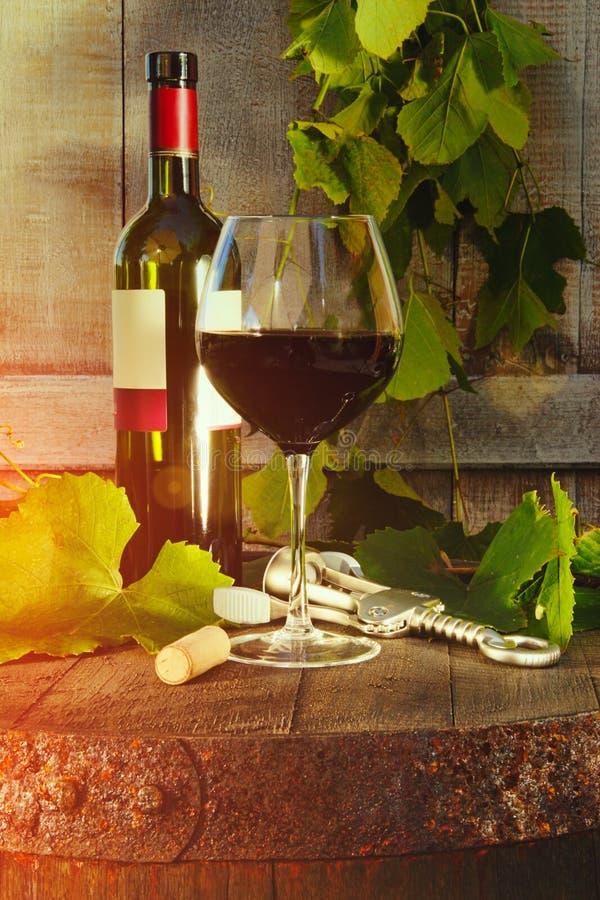红葡萄酒瓶和玻璃和葡萄树叶子 免版税库存照片