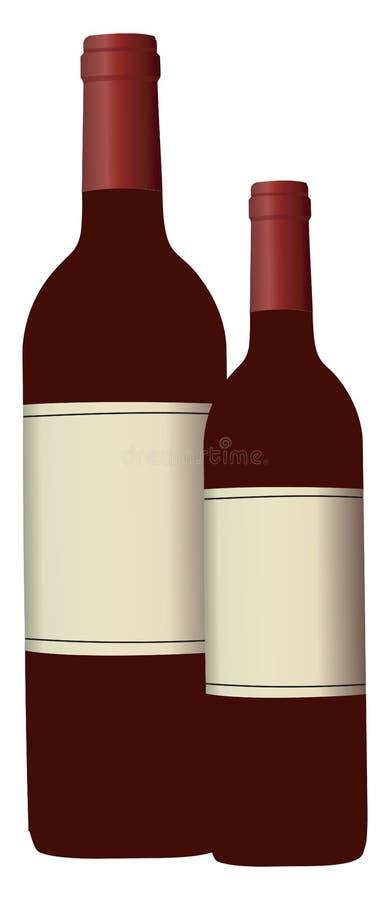 红葡萄酒瓶矢量图或彩色插图 库存例证