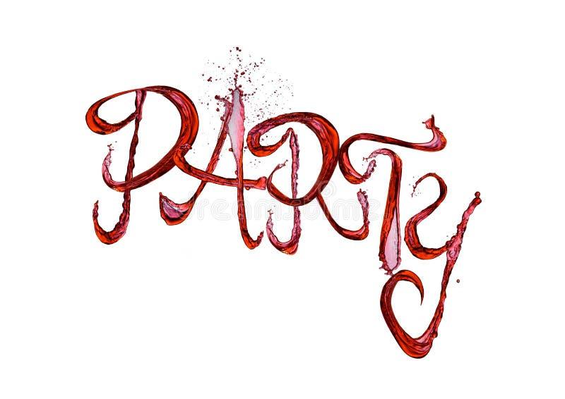 红葡萄酒飞溅与下落的党字体在白色 免版税图库摄影
