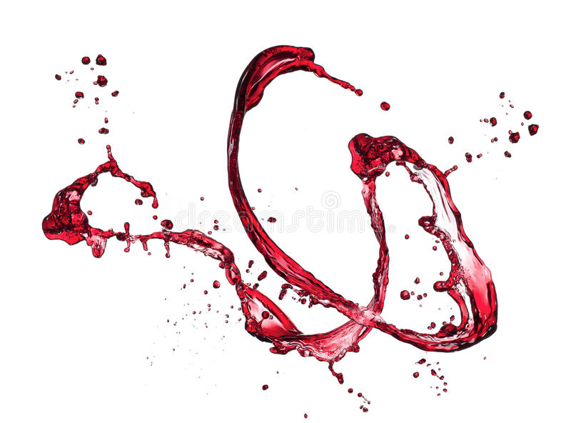 红葡萄酒飞溅 免版税库存图片