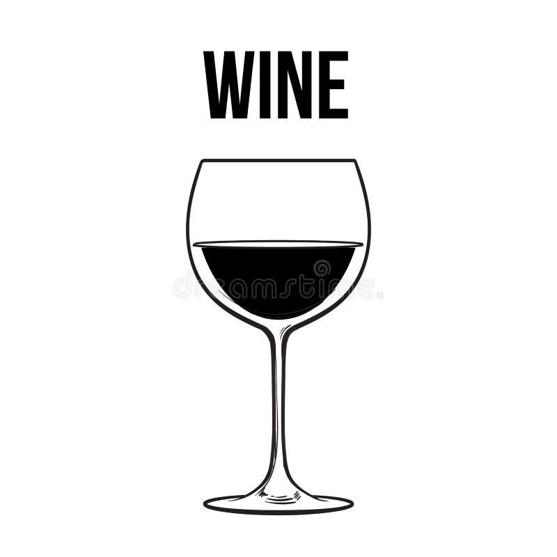 红葡萄酒玻璃,剪影在白色背景的传染媒介例证 向量例证