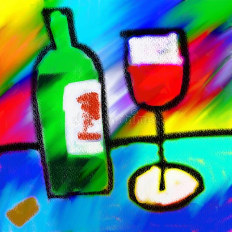 红葡萄酒绘画 向量例证