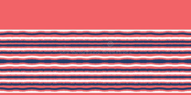 红蓝海帆船条无缝矢量边界模式 手绘海边旗边 水上航海纺织品,海上 皇族释放例证