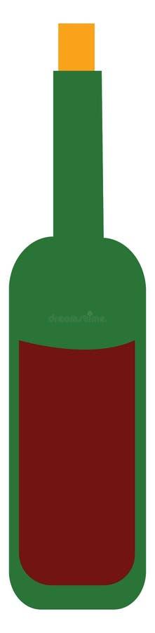 红酒瓶矢量图或彩色插图 库存例证