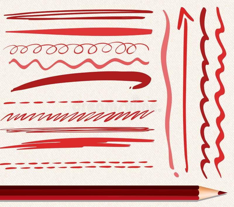 红颜色不同的绘画的技巧  库存例证
