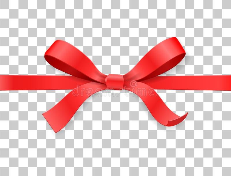 红颜色缎弓结和丝带在白色背景 传染媒介例证3d顶视图 向量例证