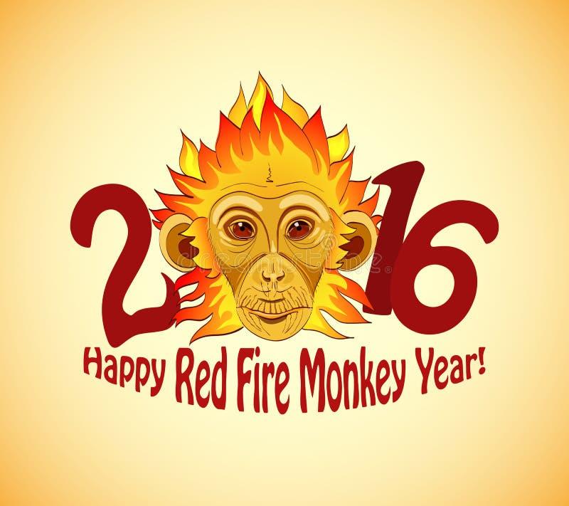 红头发人作为新的2016年标志的火猴子 免版税库存图片