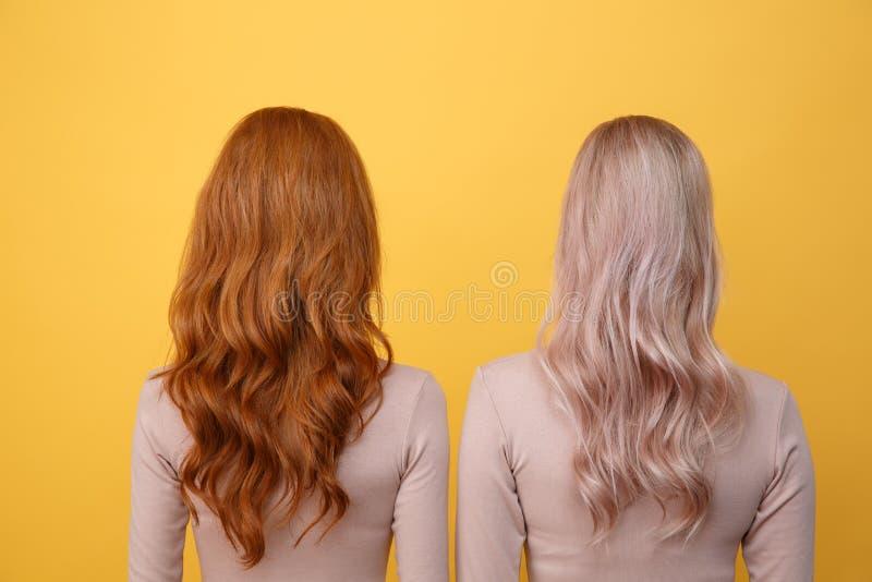 年轻红头发人和白肤金发的夫人后面看法照片  免版税库存照片