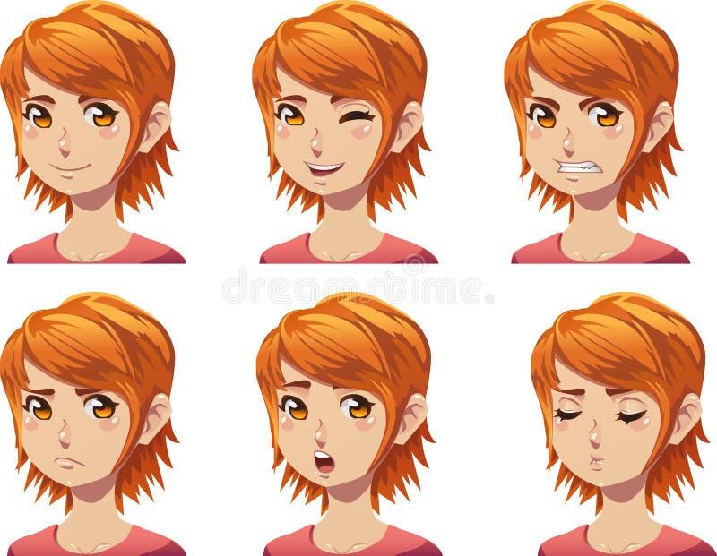红头发人女孩情感的具体化 库存例证