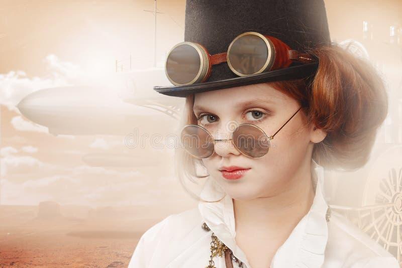 红头发人女孩steampunk 图库摄影