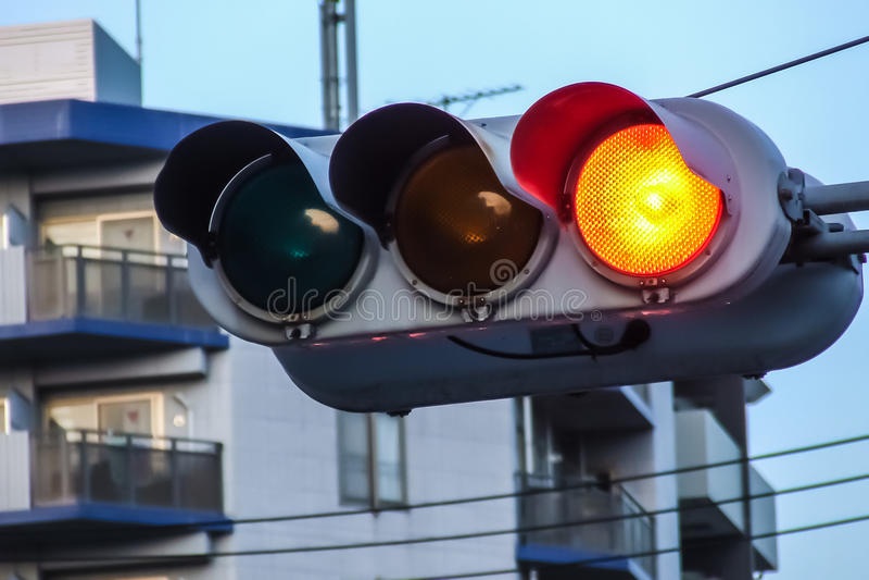 红绿灯在京都,日本 免版税库存照片