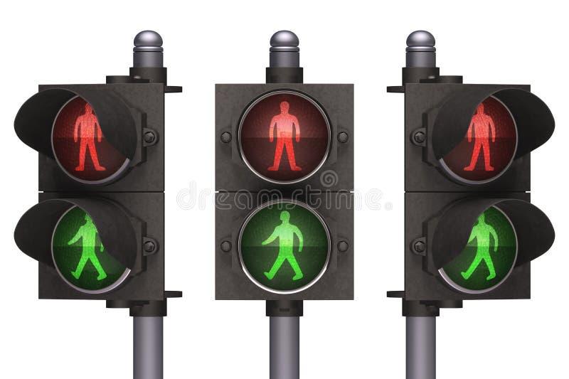 红绿灯步行者 免版税库存照片