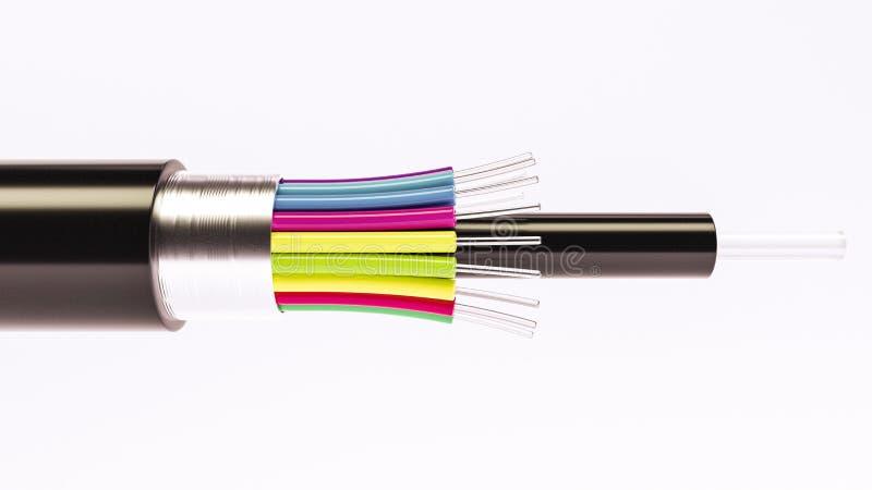 纤维光导电缆细节-高速缆绳- 3D翻译 向量例证