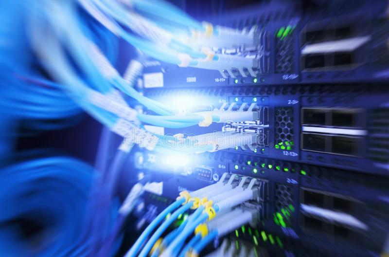 纤维光连接器接口 多重曝光 信息技术计算机网络,电信纤维光学小室 库存照片