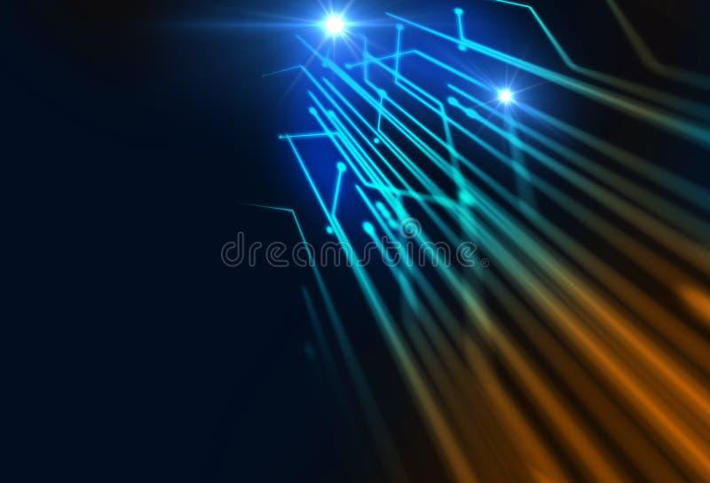 纤维光学的Defocused图象点燃抽象背景 皇族释放例证