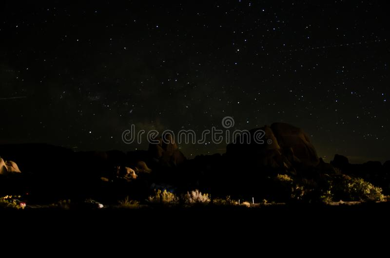 约书亚树公园在晚上 免版税图库摄影
