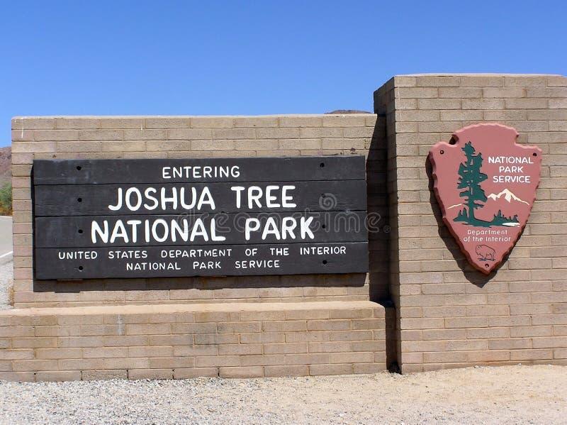 约书亚树国家公园标志板 免版税库存图片