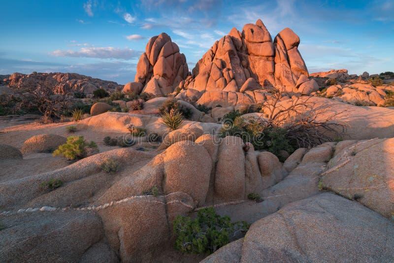 约书亚树国家公园,莫哈韦沙漠,加利福尼亚,美国 在日落的超大岩石 o 免版税库存照片