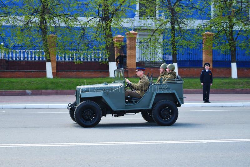 约什卡尔奥拉,俄罗斯- 2016年5月9日 俄国军队的军用设备 胜利游行 图库摄影