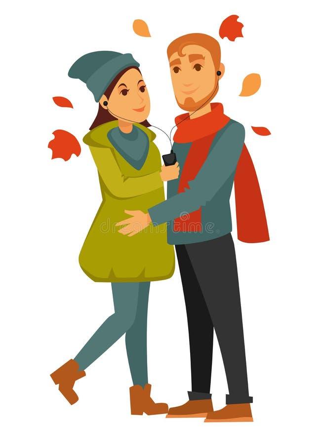 约会夫妇言情和浪漫爱关系传染媒介平的妇女人关系 向量例证
