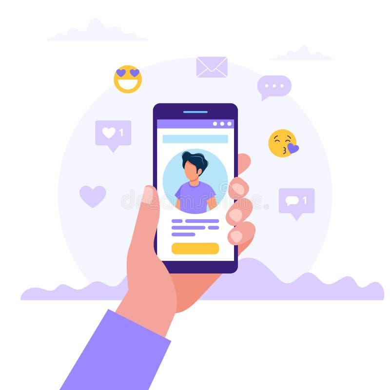 约会服务应用程序,拿着有人照片的手智能手机 真正关系,在人脉的相识 皇族释放例证