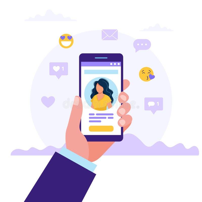 约会服务应用程序,拿着有妇女照片的手智能手机 真正关系,在人脉的相识 皇族释放例证