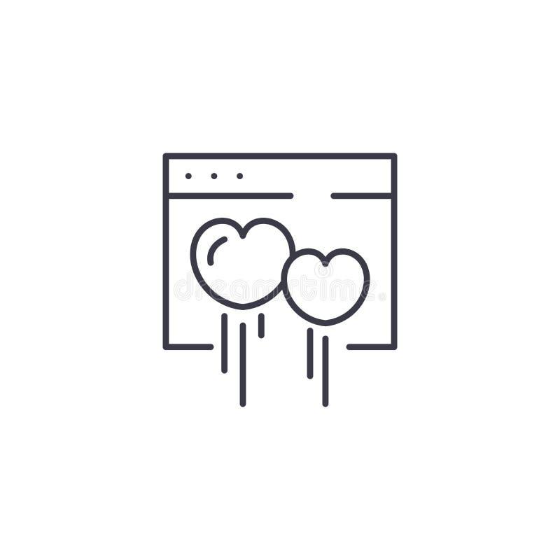 约会网站线性象概念 约会网站线传染媒介标志,标志,例证 向量例证