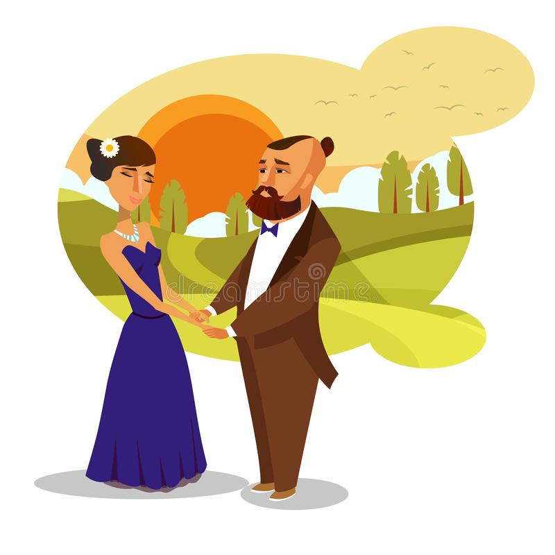 约会,蜜月浪漫传染媒介设计元素 库存例证