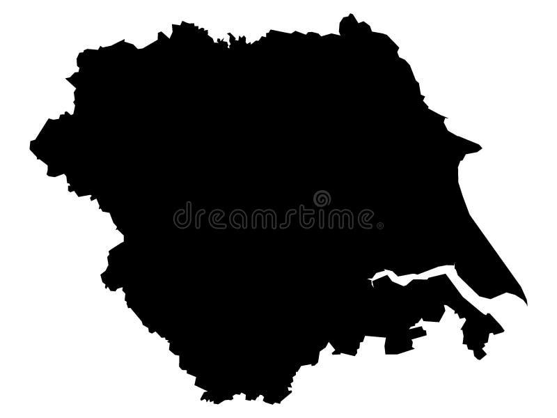 约克郡-亨伯的英国地区的黑地图 皇族释放例证