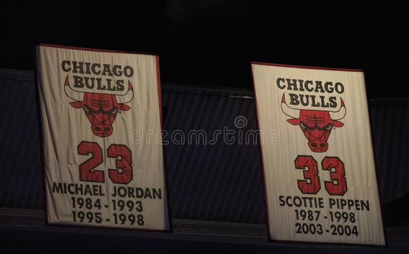 约旦和皮彭--芝加哥公牛队的大帝 库存图片