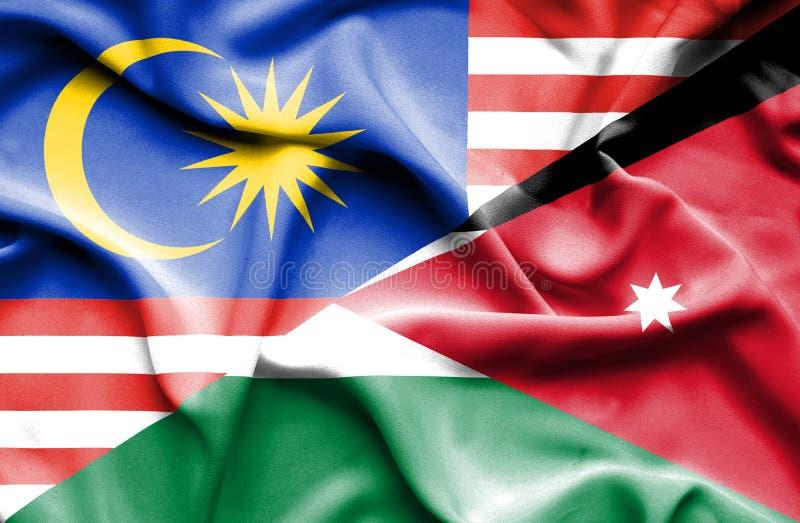 约旦和马来西亚的挥动的旗子 库存例证