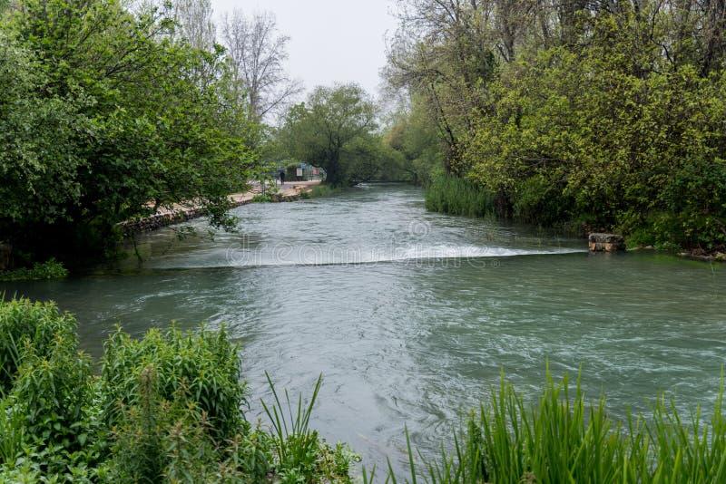 约旦河的Banias春天来源 库存照片